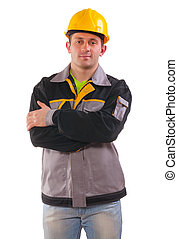 a young engineer isolated on white background.
