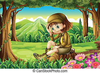 A young explorer at the forest