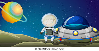 A young explorer beside the spaceship - Illustration of the...
