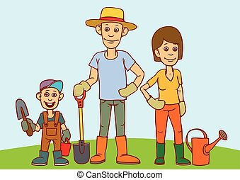 A young family, father, mother and child are working in the garden.