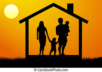 a young family with children in the house at sunset
