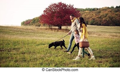 A young family with two small children and a dog on a walk...