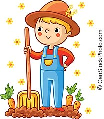 A young farmer in a garden with a carrot.