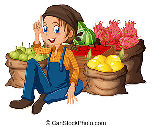 A young farmer near his harvested fruits