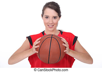 a young female basket-ball player
