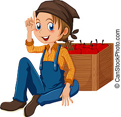A young gardener sitting beside the box