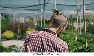 A young gardener with a beard, goes to the garden and inspects the plants. Smooth motion camera.