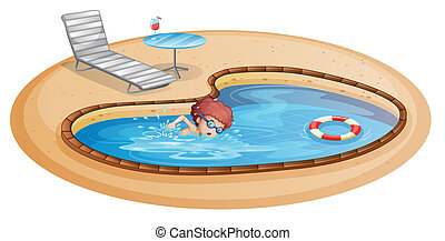 A young gentleman practicing at the pool