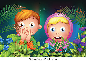A young girl and boy hiding in the garden