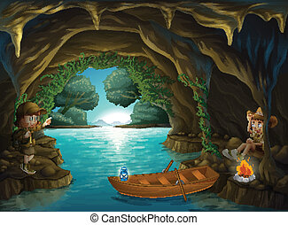A young girl and boy inside the cave