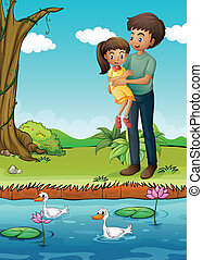 A young girl and her father at the riverbank - Illustration...