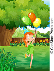 A young girl at the backyard with three balloons -...