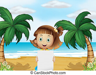A young girl at the beach with an empty paper
