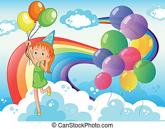 A young girl at the sky with balloons and rainbow