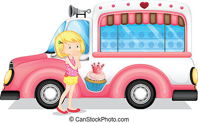 A young girl beside the pink bus