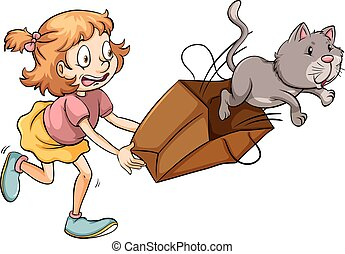A young girl chasing the cat