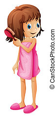 A young girl combing her hair - Illustration of a young girl...