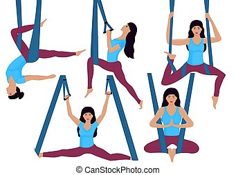 A young girl doing aerial yoga exercises in a hammock. Set of different asanas