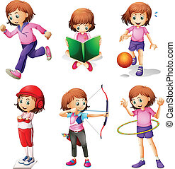 A young girl doing different activities - Illustration of a...