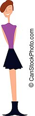 A young girl dressed for the party in her purple t-shirt and black skirt costume vector color drawing or illustration