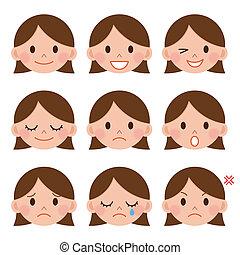 A young girl emotions - joy, sadness, hurt, shock, joy,...