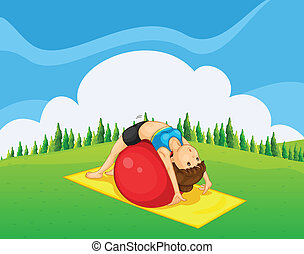 A young girl exercising with a bouncing ball at the hilltop