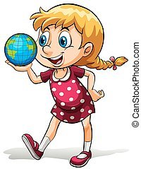A young girl holding a globe