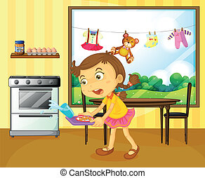 A young girl holding a tray with foods