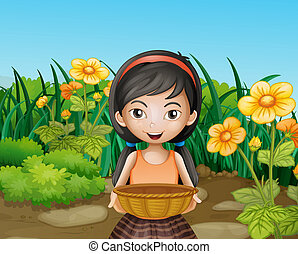 A young girl holding an empty basket at the garden