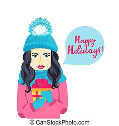 A young girl in a hat with a fluffy pompon, scarf and mittens holding a box with a gift. Happy holidays hand lettering.