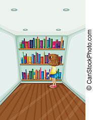 A young girl in front of the bookshelves with books
