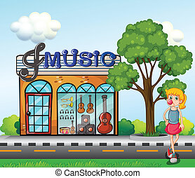A young girl in front of the music store