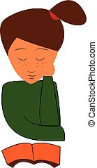 A young girl in her green t-shirt is reading a book vector color drawing or illustration