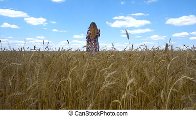 a young girl in the dress goes ahead on a wheat field