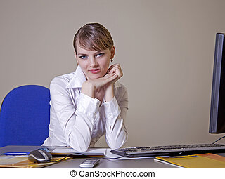 A young girl in the office