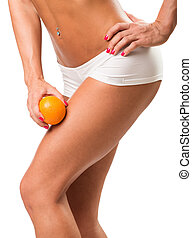 A young girl in underwear with an orange on a white background