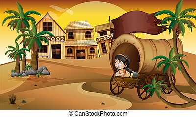 A young girl inside a wagon - Illustration of a young girl...