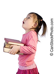 Education - A young girl is ready for school. Education,...