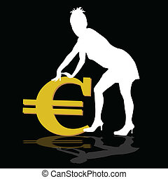 a young girl leaning on the euro