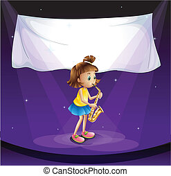 A young girl performing at the stage with an empty banner