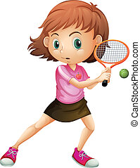 A young girl playing tennis - Illustration of a young girl...