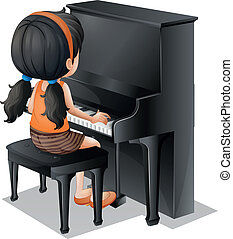 A young girl playing with the piano