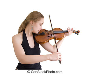 A young girl plays on a violin