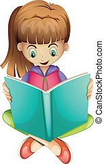 A young girl reading a book seriously - Illustration of a...