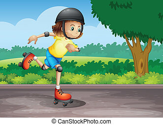 A young girl rollerskating at the street - Illustration of a...