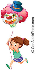 A young girl running with a clown balloon