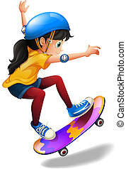 A young girl skateboarding - Illustration of a young girl...