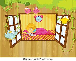 A young girl sleeping