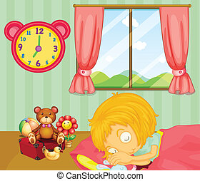 A young girl sleeping soundly in her bedroom