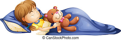 A young girl sleeping with a toy - Illustration of a young...